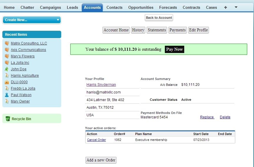 Subscription Billing and Payments for Salesforce CRM