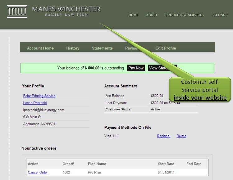 Customer Self-service website inside your website