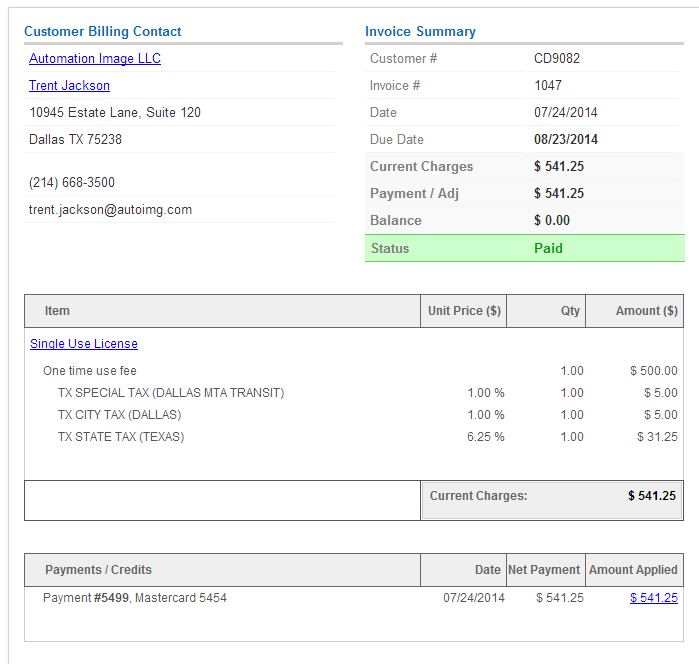 Invoice with automated sales tax rate and jurisdiction lookup