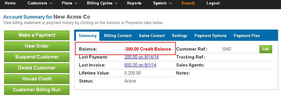 Credit Balance
