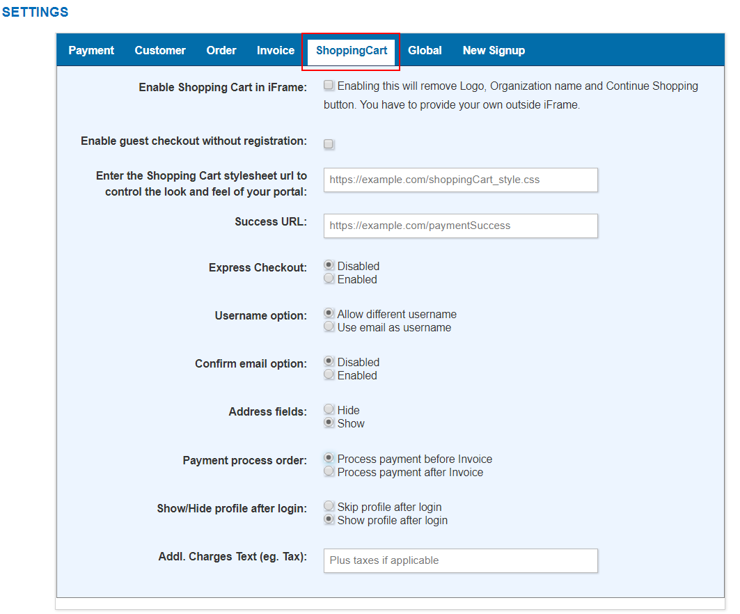 Shopping Cart Config BluBilling User Guide - Invoice late fee wording create online store